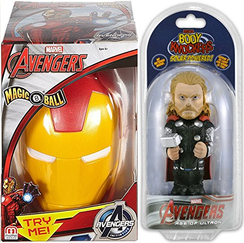 Thor Figure Body Knockers Disney Marvel Avengers Age of Ultron + Iron Man Super Hero Toy Magic 8-Ball 2-Piece Bundle