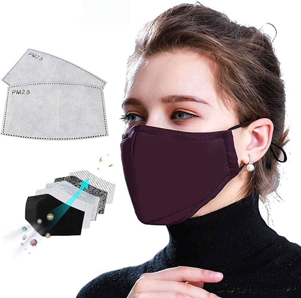 5-layer Activated Carbon Filter, Replaceable Filter Screen, Reusable Washable Cotton, Comfortable and Safe, Highly Sealed Air Filter, Clean Air Gray-1x Mask 2x Filter