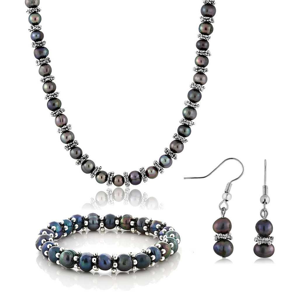 Black Cultured Freshwater Pearl Necklace Bracelet Earrings Set 18 JKW-33-SET-WITH-BRACELET-MFN