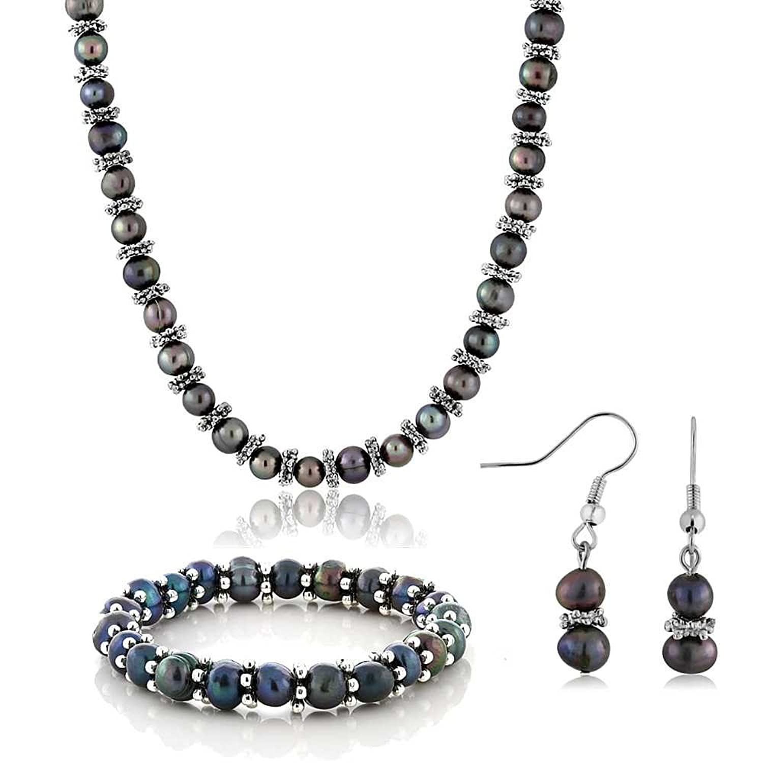 black pod pea with jewellery shop zanfeld pearls silver earrings