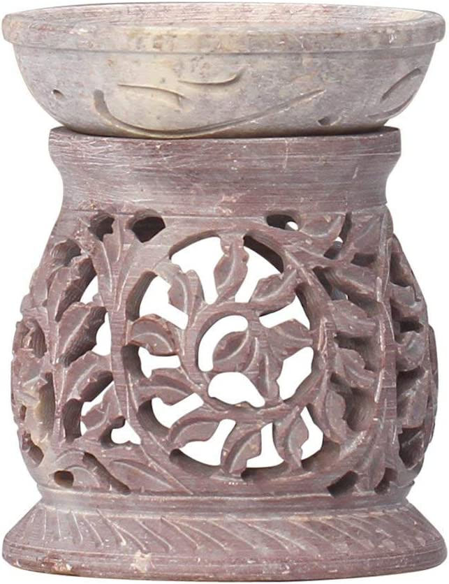 "SouvNear 3.5"" Aromatherapy Oil Diffuser Warmer Burner Tealight Holder Hand-Carved White Soapstone for Fragrance - Home/Office/Bathroom/Mantel Decor - Housewarming Gifts"
