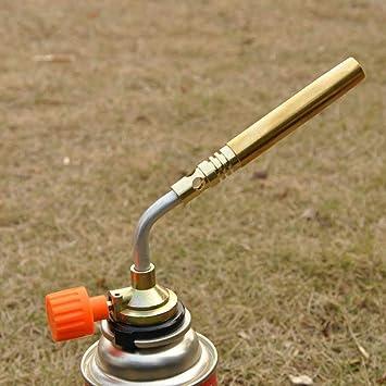 Pistola portátil de gas butano de cobre para soldar de encendido manual al aire libre: Amazon.es: Hogar
