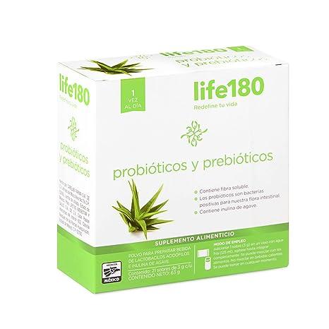 16d19169d046 LIFE180 Probióticos y Prebióticos, 21 Sobres, 63 g