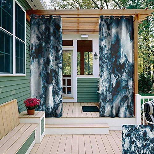 - leinuoyi Marble, Outdoor Curtain of Lights, Unusual Gemstone Onyx Rock Nature Pattern with Vintage Paintbrush Effects, Balcony Curtains W84 x L96 Inch Slate Blue Pearl
