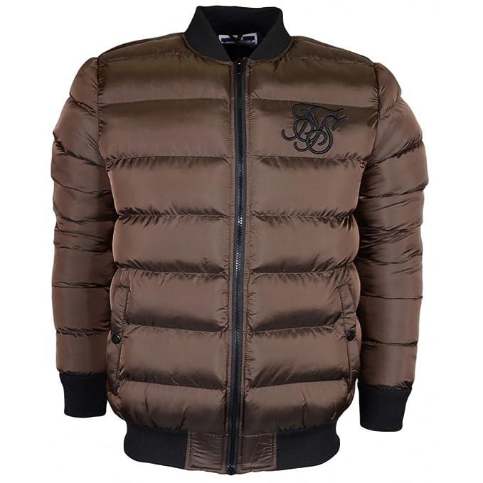 Amazon.com: SIK SILK Aero Bubble Zip Brown Bomber Jacket L Brown: Clothing