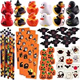 Aobuy 156 Piece Halloween Party Favors Toys Assortment | 72 Halloween Glitter Tattoos | 48 Halloween Erasers | 12 Halloween Ducks | 12 Halloween Sticker Sheets | 12 Halloween Pencils