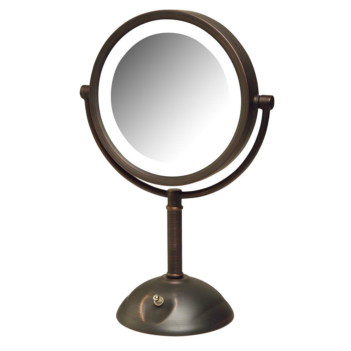 Jerdon HL8808BZL 8X Magnification LED Lighted Table Top Mirror, Bronze by Jerdon