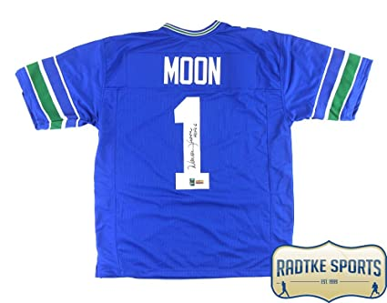 e7292b3a Warren Moon Autographed/Signed Seattle Throwback Blue Custom Jersey ...
