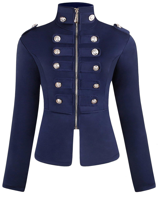 JOKHOO Women's Zip Front Stand Collar Military Light Jacket Zip Up Blazers