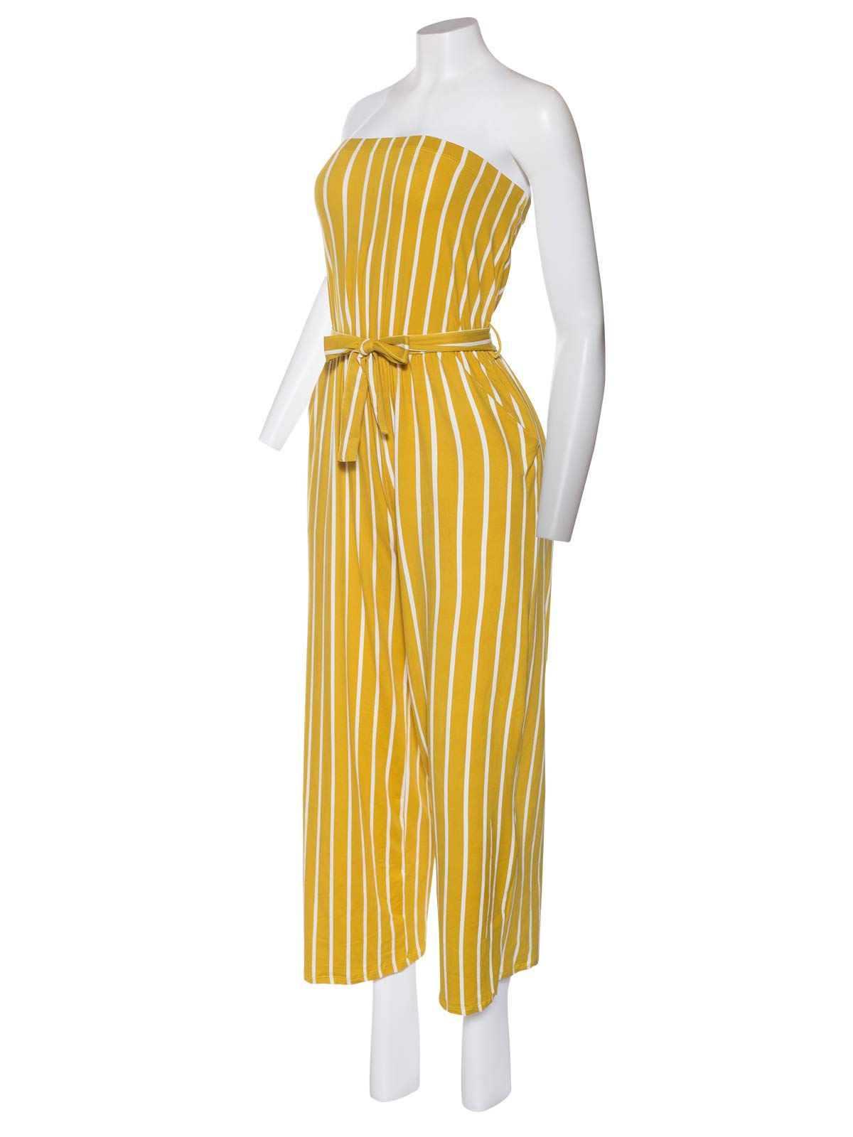 Instar Mode Women's Sexy Tube/Off Shoulder One Piece Jumpsuit Romper in Various Style Mustard/Wht L