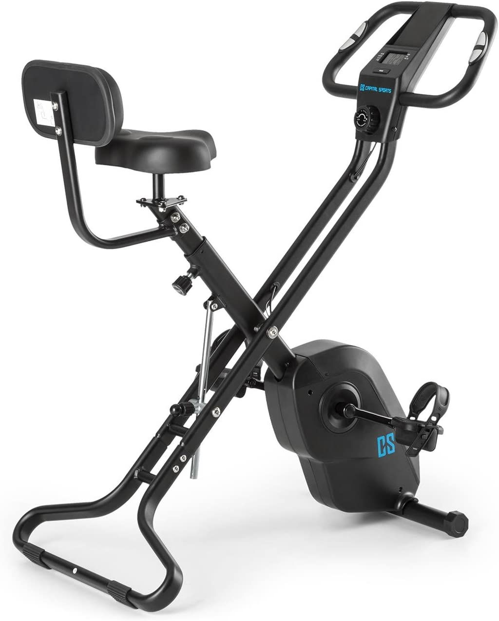CAPITAL SPORTS Azura X2 - Bicicleta estática, Pulsómetro en manillar, Sistema plegable, Rotor de 4 kg, 7 niveles de altura, Peso máx. 120 kg, 8 niveles resistencia, Respaldo