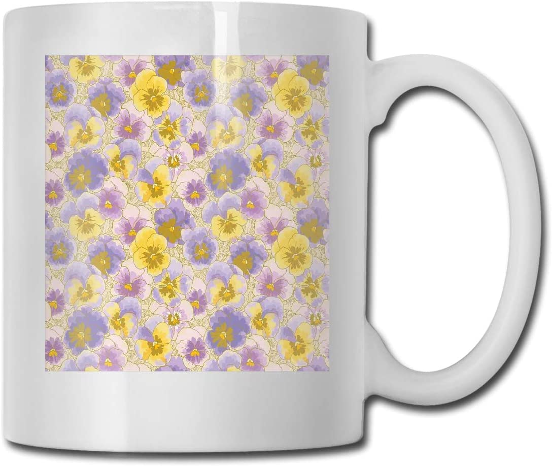 Funny Ceramic Novelty Coffee Mug 11oz,Hand Drawn Pansy Flowers Garden Botanical Artistic Watercolor Pattern,Unisex Who Tea Mugs Coffee Cups,Suitable for Office and Home