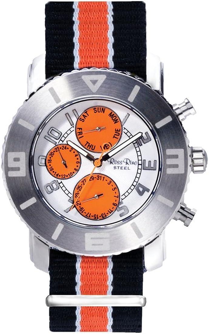 Reloj Digital de Cuarzo Reloj de Pulsera con Acoplamiento de Remolque Rino palop en Color Naranja y Esfera analógica y de Color Naranja de la Pulsera de la PU