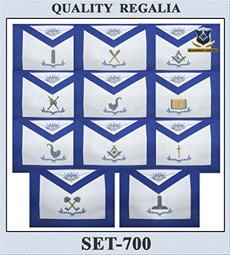 Masonic Officer Blue Lodge Aprons - Set of 11 Aprons Hand Made by Masonic Store