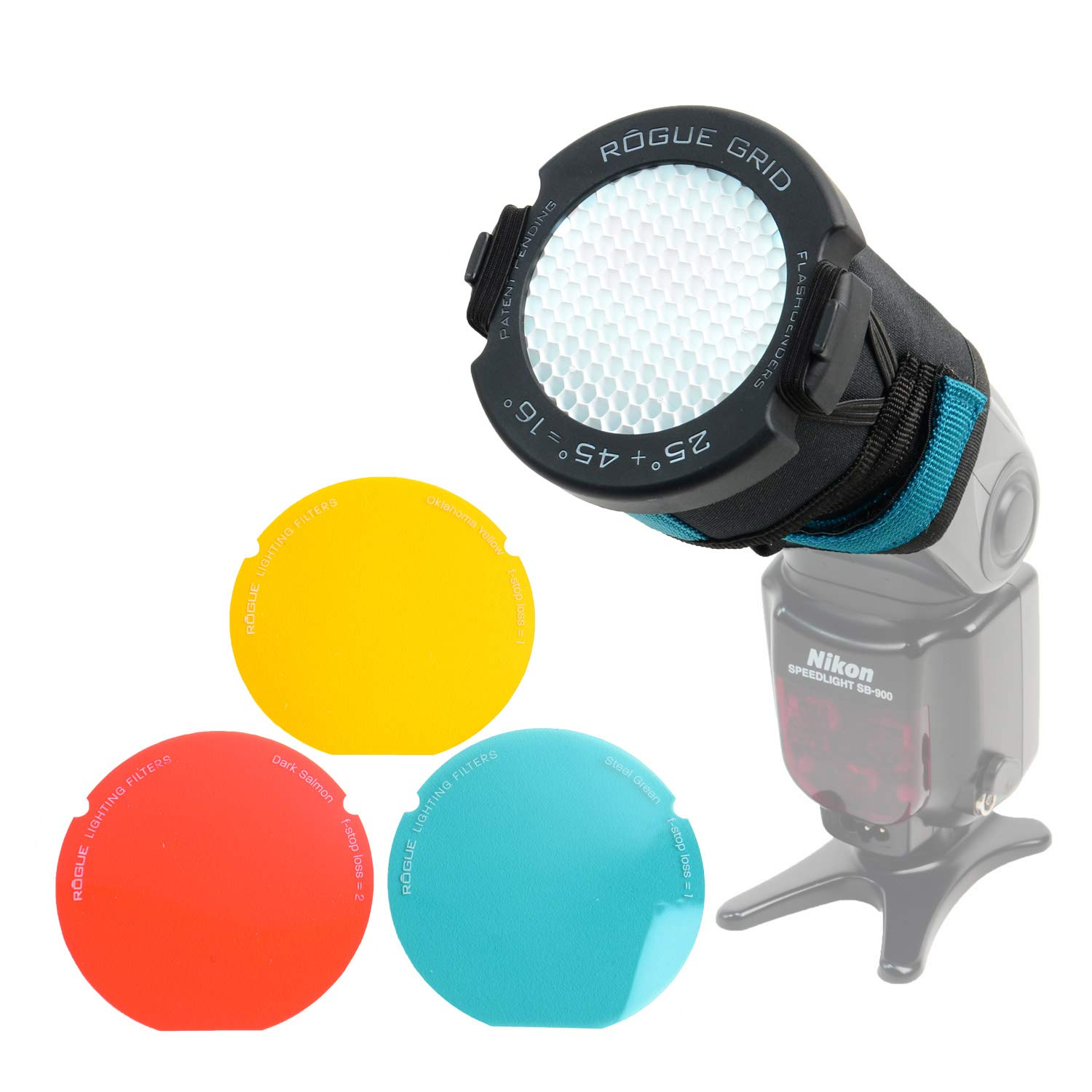 Rogue 3-in-1 Flash Grid System with White Grid Inserts & 3-Gel Set by Rogue Photographic Design