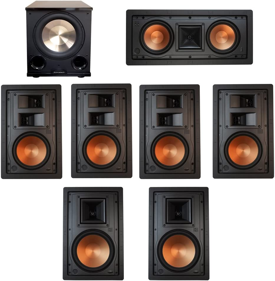 Klipsch 7.1 In-Wall System with with 2 R-5800-W II In-Wall Speakers, 1 Klipsch R-5502-W II In-Wall Speaker, 4 Klipsch R-5650-S II In-Wall Speakers, 1 BIC/Acoustech Platinum Series PL-200 II Subwoofer