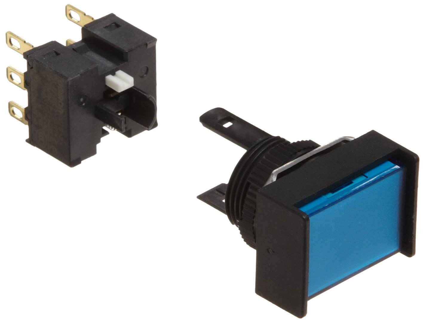 Omron A165-JAA-2 Two Way Guard Type Pushbutton and Switch, Solder Terminal, IP65 Oil Resistant, 16mm Mounting Aperture, Non-Lighted, Alternate Operation, Rectangular, Blue, Double Pole Double Throw Contacts