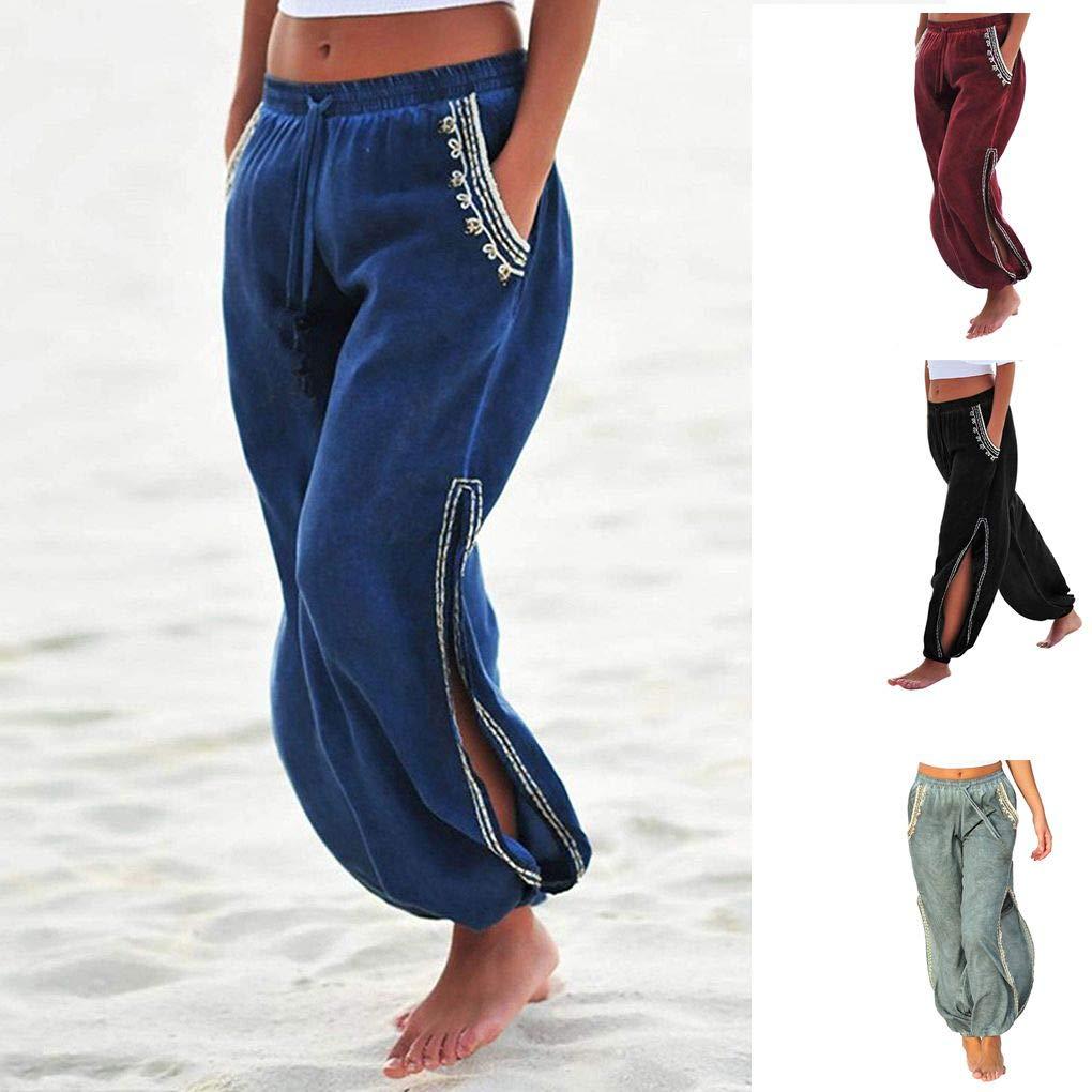 Arichtops Women Summer Drawstring Harem Pants Side Split Jogger Trousers with 2 Pockets