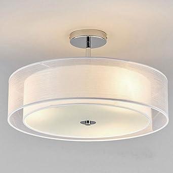 Deckenleuchte Modern Design 3 Flammig Lampe 2 Schicht Stoff