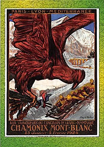 1924 Chamonix Trading Card (Winter Olympiad I, Official Poster) 1996 Collect-A-Card Centennial Olympic Games Foil #P-2 - Olympic 1924 Games
