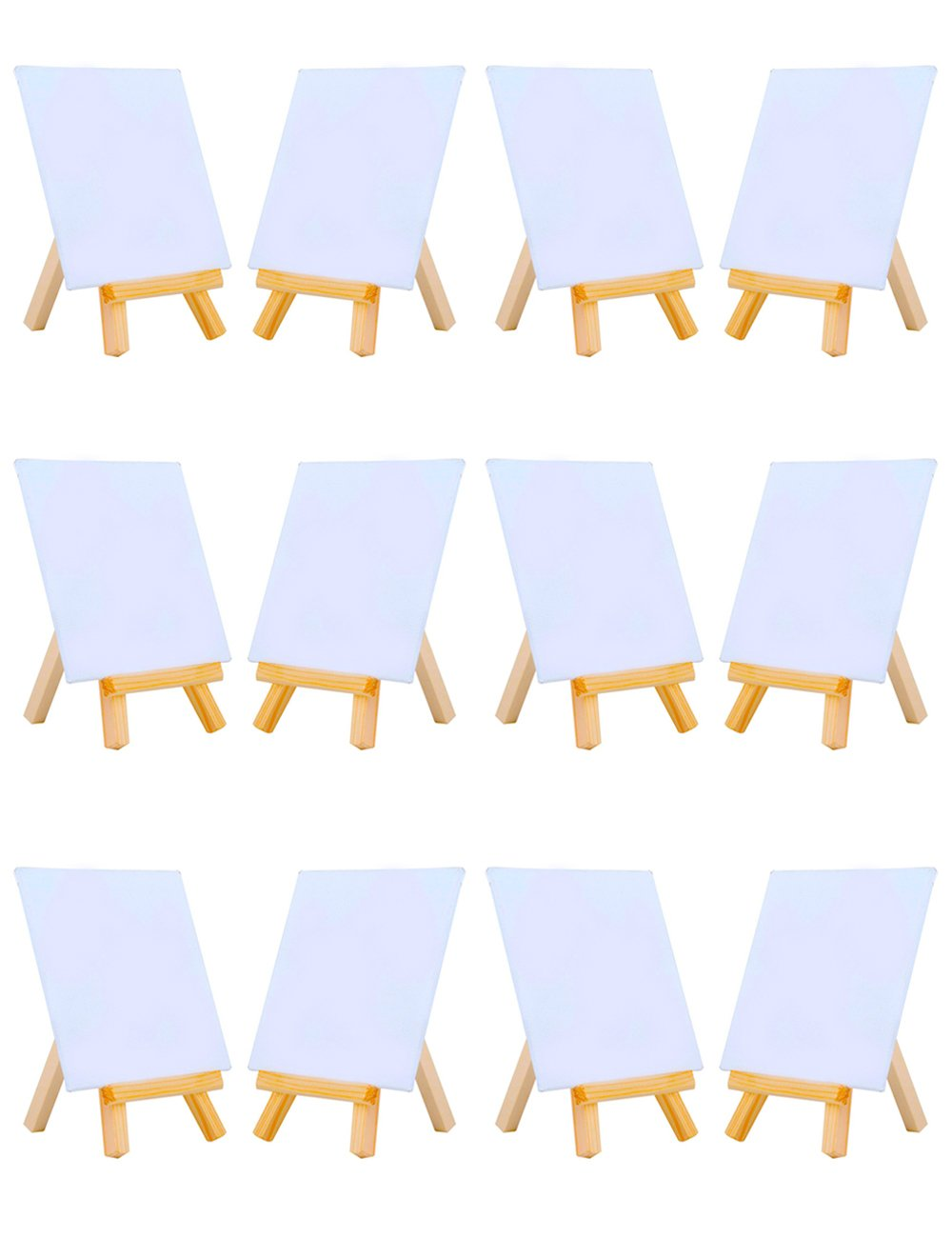 MEEDEN 4 by 4 Inch Mini Canvas Panels Combined with 3 by 5 Inch Tiny Wood Easels Set for Paintings Craft Small Acrylics Oil Projects, Pack of 12 by MEEDEN