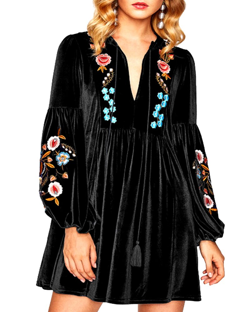 Aofur Women Bohemian Vintage Embroidered Velvet Spring Shift Mini Dress Long Sleeve Casual Tops Blouse (XX-Large, Black)