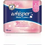 Whisper Skin Love Ultra Slim Normal/Heavy Day Wings Sanitary Pads, 18ct