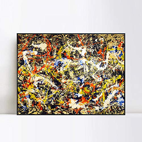 INVIN ART Convergence by Jackson Pollock Framed Canvas Art Abstract Wall Art Home Decor(Black Slim Frame,24x32)
