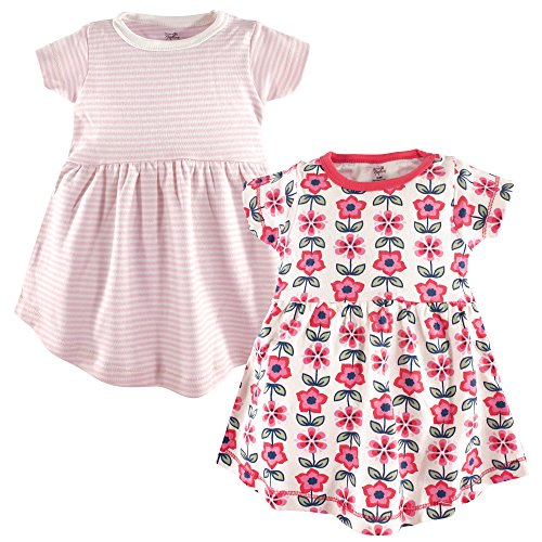 Touched by Nature Baby Girl Organic Cotton Dresses, Flower Short Sleeve 2-Pack, 0-3 Months (3M) -