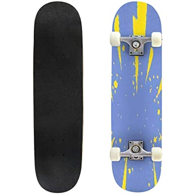 Classic Concave Skateboard Cartoon Styled lightnings on a Grunge Vintage Background Vector Longboard Maple Deck Extreme Sports and Outdoors Double Kick Trick for Beginners and Professionals : Sports & Outdoors
