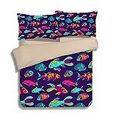 Fantastic Hawaii Tropical Fish Cotton Microfiber 3pc 80''x90'' Bedding Quilt Duvet Cover Sets 2 Pillow Cases Full Size