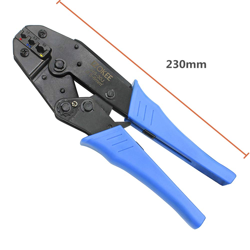 IZOKEE Pince /à sertir /à Cliquet 0,5-6mm/² AWG 20-10 pour Embouts et Cosses Isol/ées