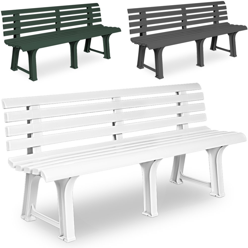 Gartenbank Sitzbank Parkbank Bank Orchidea Gartenmöbel Kunststoff 3 Sitzer  145x49x74cm Weiß