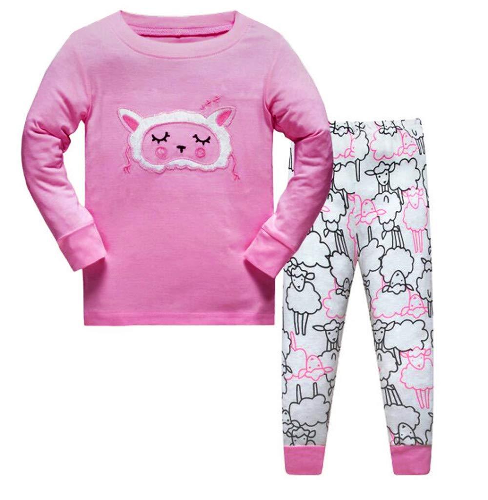 LitBud Girls Chirstmas Sheep Pajamas Sleepwears 2pcs Long Sleeves Tops Pjs Nightwear + Pants Sets for Toddler Kid Size 5-6 Years 6T