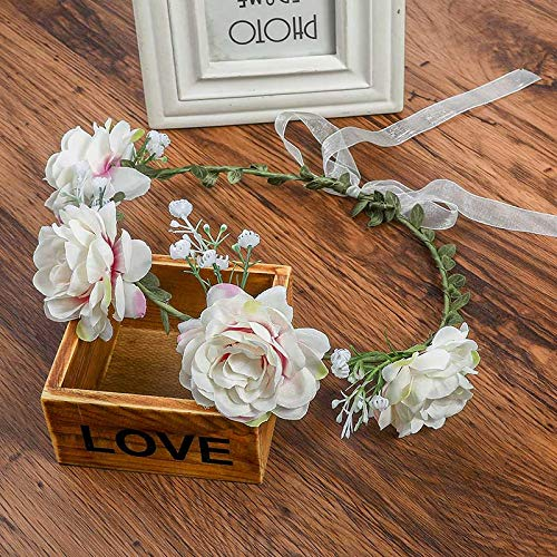 Fashio Flower Headband Women for Wedding Floral Headband Hair Band Wedding Party Prom Festival Decor Princess Floral Wreath Head Pink White by Heayoup (Image #1)
