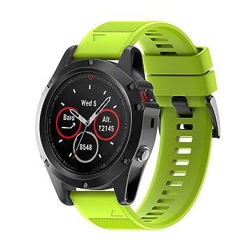 Correas para Garmin fenix 5X GPS, Saisiyiky Banda de silicona de garmin fenix 5X correa (NO PUEDE AJUSTAR Fenix 5) (Verde): Amazon.es: Deportes y aire libre