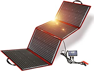 DOKIO 200W Foldable Solar Panel Kit Lightweight(9lb,28x20 inch) Monocrystalline(HIGH Efficiency) with Controller USB Output to Charge 12V Batteries (All Types: Vented AGM Gel) RV Camper Boat