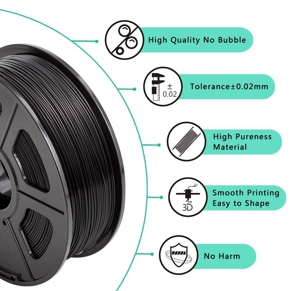Carbon Fiber 1KG Spool PLA Carbon Fiber 1.75 mm 3D Printing filament Low Odor Dimensional Accuracy +//- 0.02 mm 2.2 LBS SUNLU PLA Carbon Fiber 3D Printer Filament