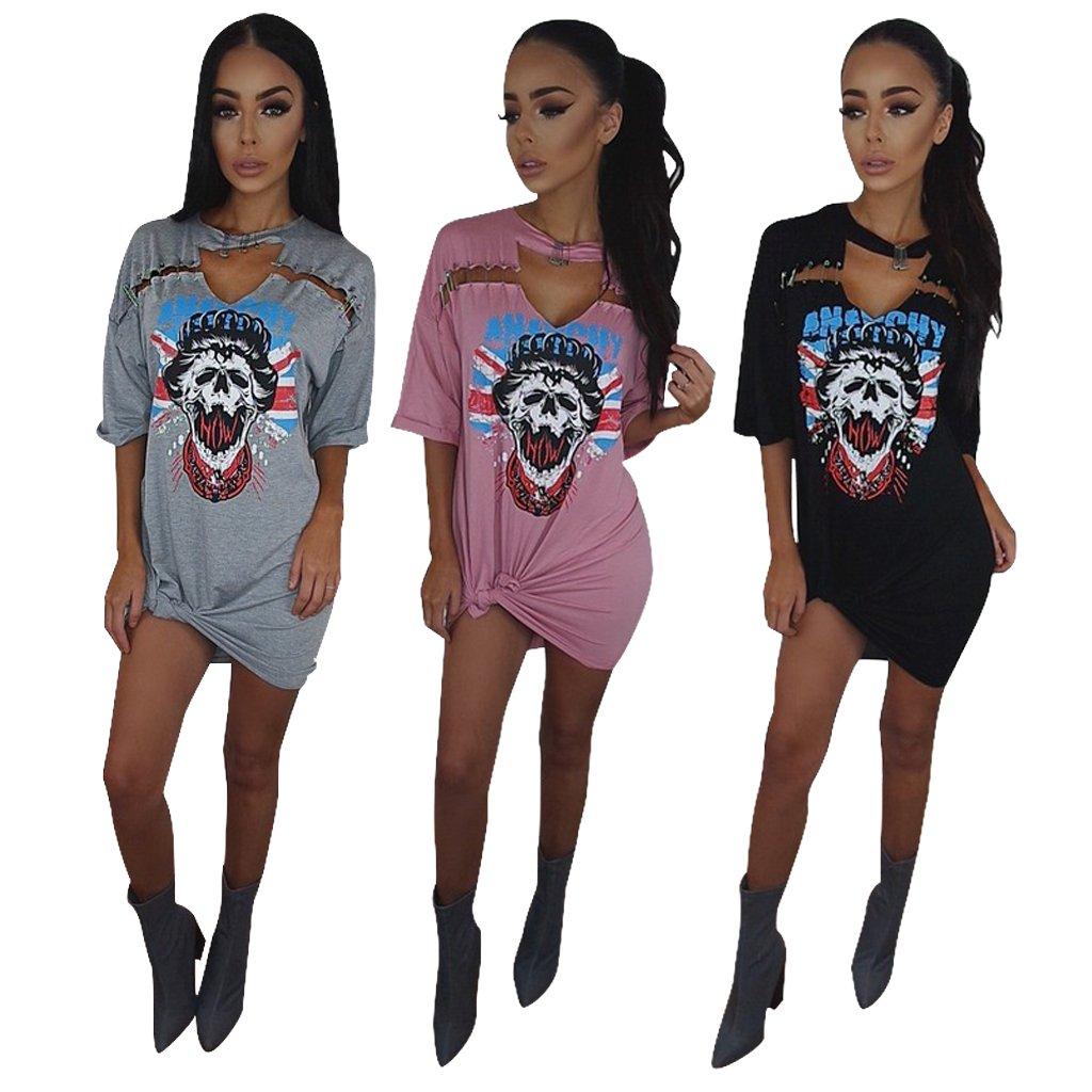 c04963a43d3f Women's Punk T-Shirt Dress - Casual Cut Out Mini Dress at Amazon Women's  Clothing store: