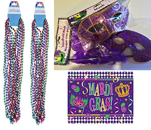 Mardi Gras Beads & Masks Party Supplies -1 Handheld Feather Mask – 1 Sequined Mask and 14 Colored Beaded Necklaces. Great Mardi Gras Colors - Perfect Addition to Any (Mardi Gras Masks Wholesale)
