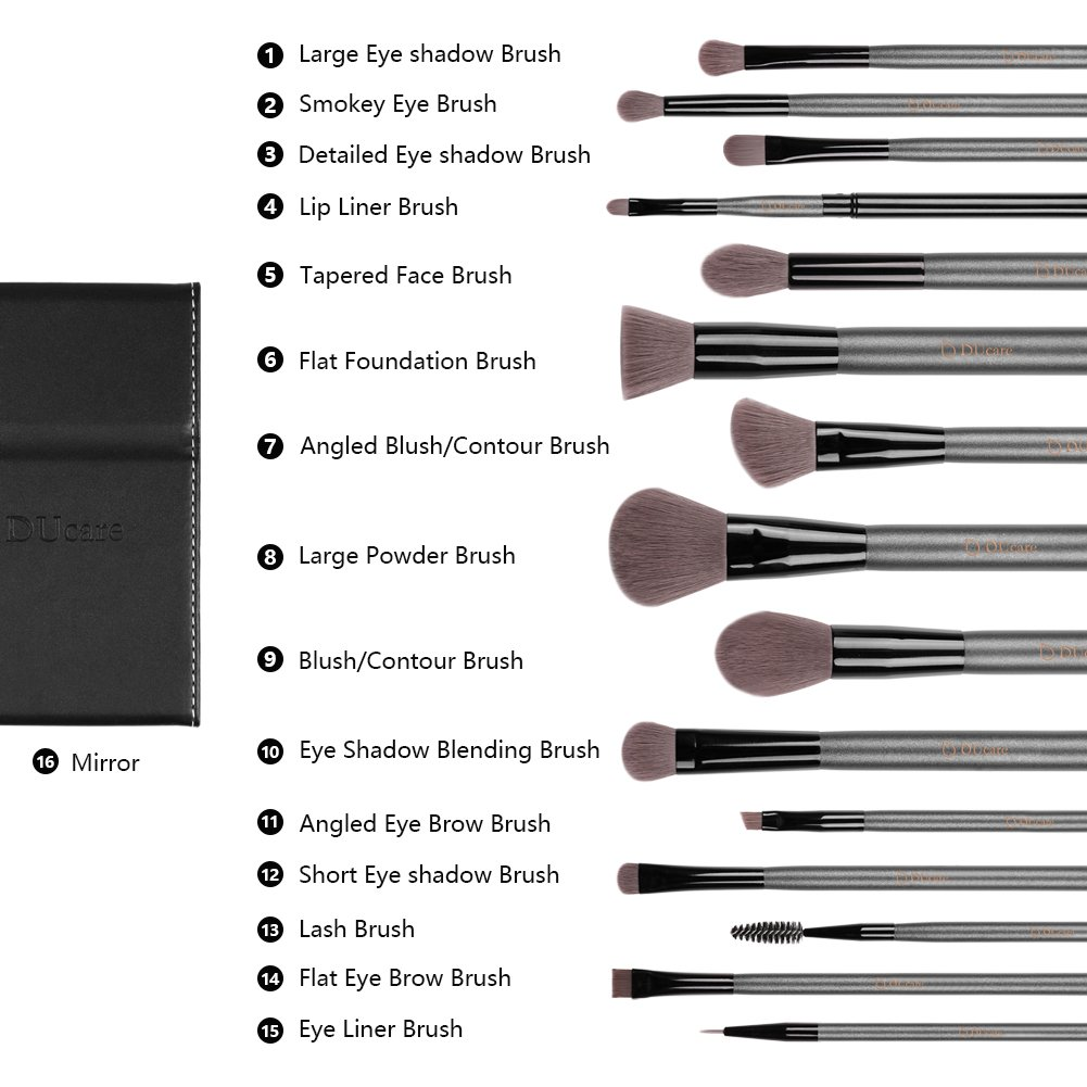 DUcare15 Pcs Pro Makeup Brush Set with Case and Travel Mirror Gift Choice Synthetic Professional Foundation Blending Brush Face Powder Blush Concealer Make Up Brushes by DUcare (Image #7)