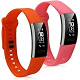 kwmobile 2in1 set: 2x Sport spare bracelet for Huawei Band 2/Band 2 Pro in dark pink orange Inner dimensions: approx. 16-22 cm - silicone bracelet with clock clasp without tracker