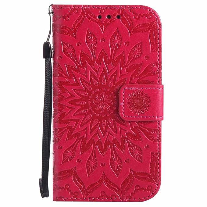 Galaxy S4 Hülle, Dfly Premium Slim PU Leder Mandala Blume prägung Muster Flip Hülle Bookstyle Stand Slot Schutzhülle Tasche W