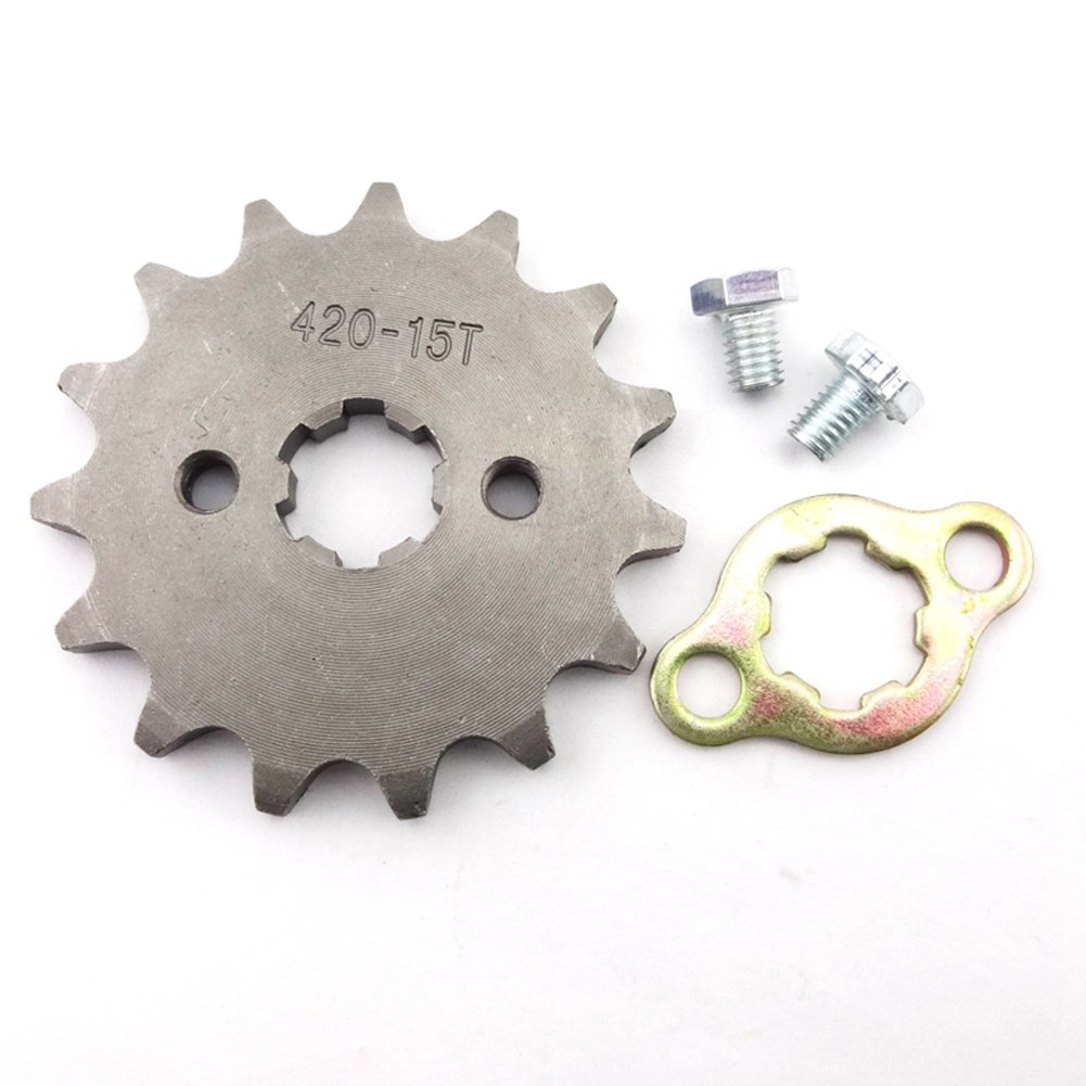 Ingranaggio dentato 420 per catena anteriore Stoneder per veicoli ATV//quad-bike//pit bike//dirt bike//trail bike con motori di 50/cc//70/cc//90/cc//110/cc//125/cc//140/cc//150/cc//160/cc 15/denti 17/mm