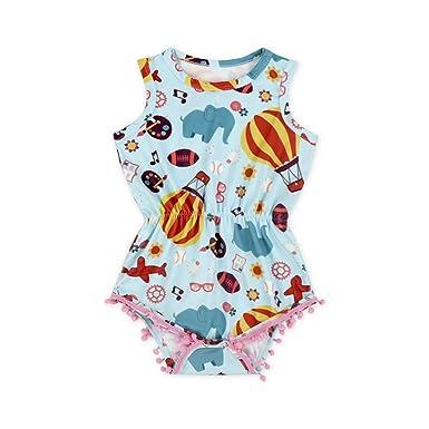 ba32bb953 Amazon.com  Anbaby Baby Girls Sleeveless Pom Pom Romper Various ...