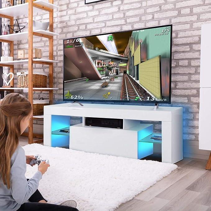 Supporto TV Tavolino Consolle TV lowboard per Interno Sala da Pranzo Salotto Mobile Porta TV 130 x 35 x 45 cm Mobile TV con Illuminazione a LED RGBW in Legno MDF
