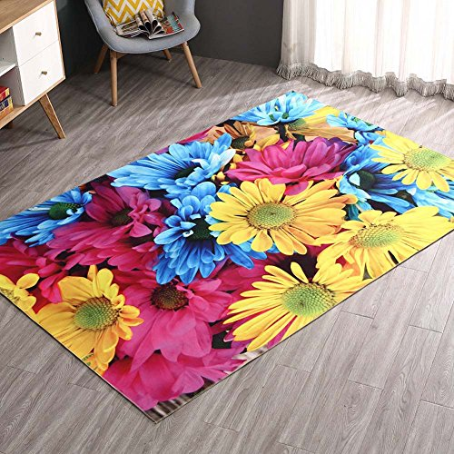 MAXYOYO Colorful Daisy Carpet Living Room Bedroom Bedside Area Rug 63 94 Inch Soft Non-slip Bedroom Carpet Large Carpet Rug