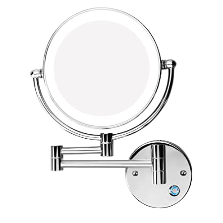 Excrst Wall Mounted Makeup Mirror, Makeup Mirror LED Wall Mount Bathroom Mirror Wall Mirror 10x Magnification Cosmetic Mirror 8-inch