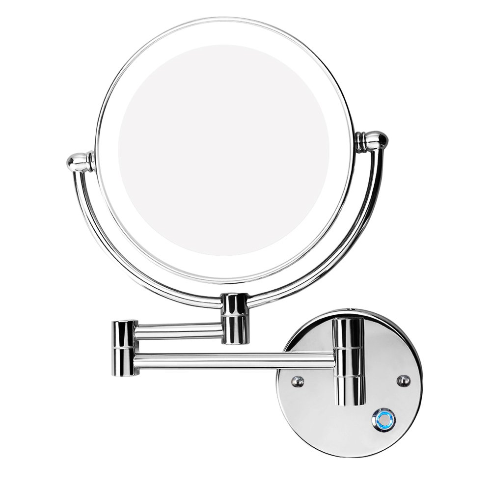 Gemrise Wall Mounted Makeup Mirror, Makeup Mirror LED Wall Mount Bathroom Mirror wall Mirror 10x Magnification Cosmetic Mirror (8-inch)