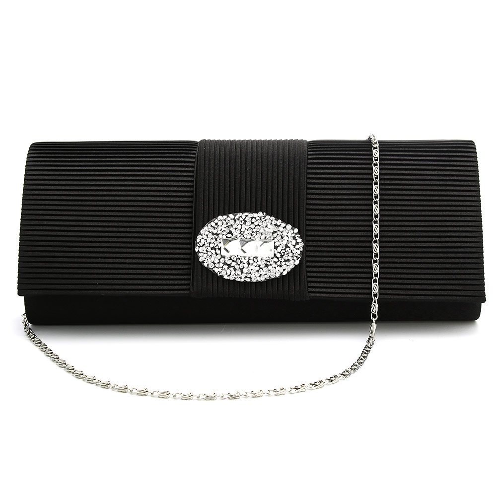 Ladies Designer Pleated Satin Wedding Evening Bags Formal Clutch Purse Crystal Evening Handbag for Women (Black)